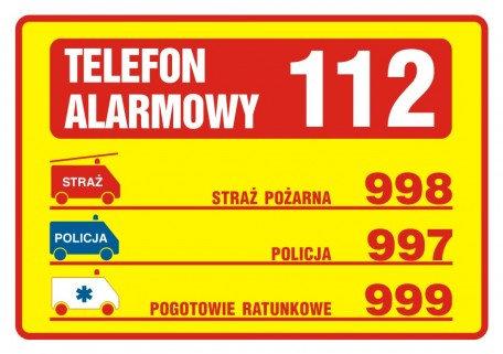 Tabliczka telefonów alarmowych, żółta