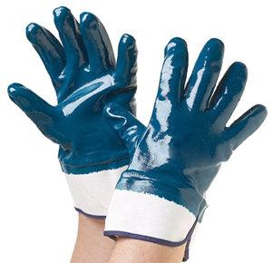 Rękawice wykonane z grubego nitrylu (usztywniony kauczukowy mankiet)