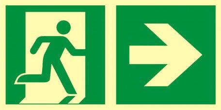 Kierunek do wyjścia ewakuacyjnego – w prawo