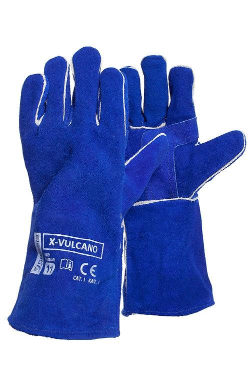 Rękawice spawalnicze wykonane z dwoiny bydlęcej w kolorze niebieskim