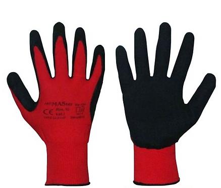 Rękawice z czerwonego nylonu powlekane lateksem
