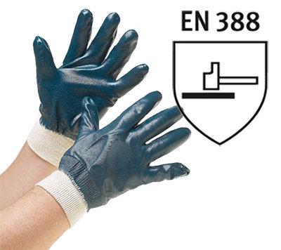 Rękawice wykonane z grubego nitrylu (ściągacz bawełniany)