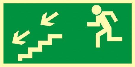 Kierunek do wyjścia drogi ewakuacyjnej schodami w dół w lewo
