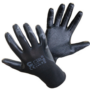 Rękawice nylonowe powlekane prążkowanym nitrylem