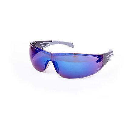 Okulary ochronne, szare szkła z niebieską powłoką lustrzaną