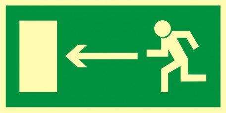 Kierunek do wyjścia drogi ewakuacyjnej w lewo