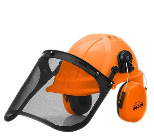 Trzyczęściowy zestaw do ochronny głowy, słuchu i twarzy