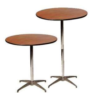 "Table, Cocktail Wood (30"" diameter) $11.00 each"