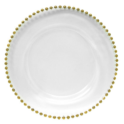 Charger Plate, Glass Gold Beaded $3.15 each