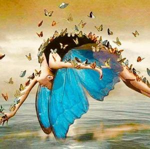 femme papillon aux ailes bleues