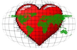Planète en forme de cœur rouge, les continents sont en vert