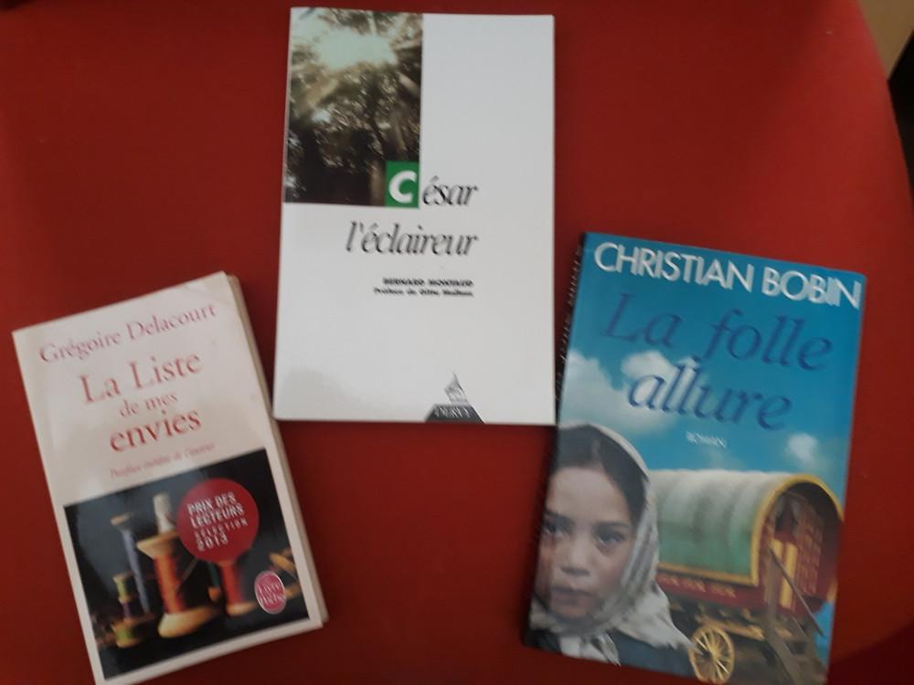 Trois couvertures des livres qui ont changé ma vie: La liste de mes envies, César l'éclaireur et La folle allure