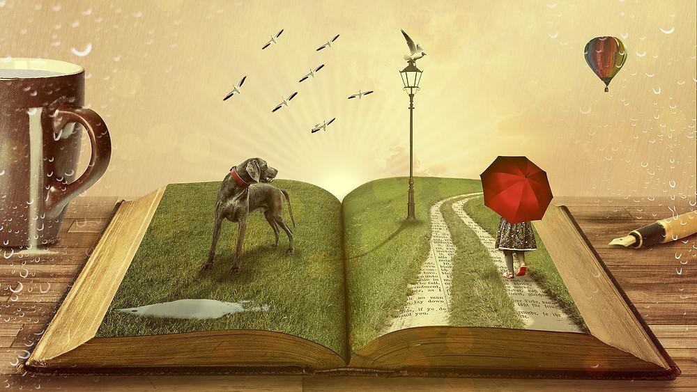image d'un livre ouvert, sur la page de gauche un chien, sur la page de droite un enfant