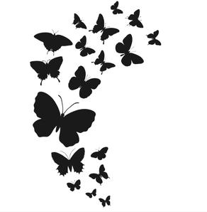 Papillons noirs sur fond blanc