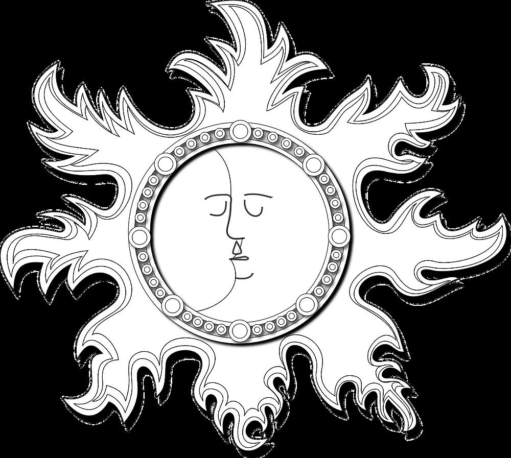 En transparence, miroir ancien en son centre deux visages imbriqués