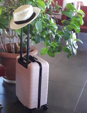 Valise cabine rose avec chapeau de paille sur l'anse