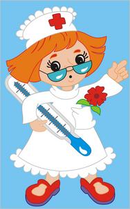 Dessin d'une infirmière avec thermomètre