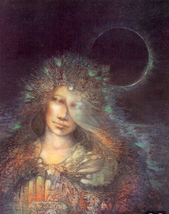 Femme époque renaissance avec lune en fond
