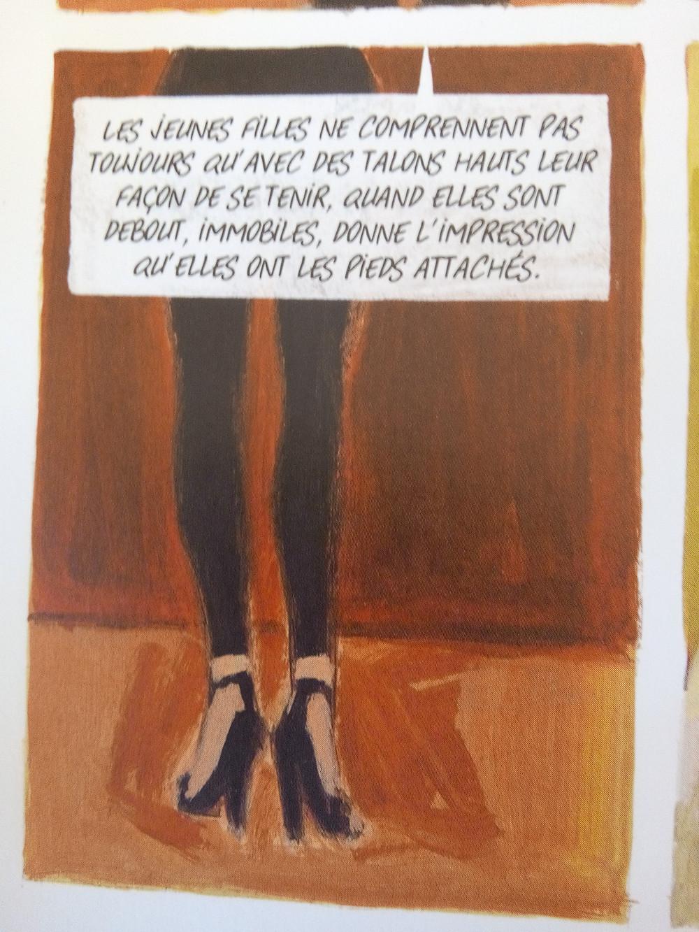 une vignette de la BD: jambes de femme en talons hauts
