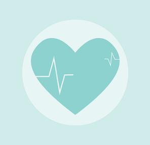 cœur en symbole avec graphique du rythme cardiaque