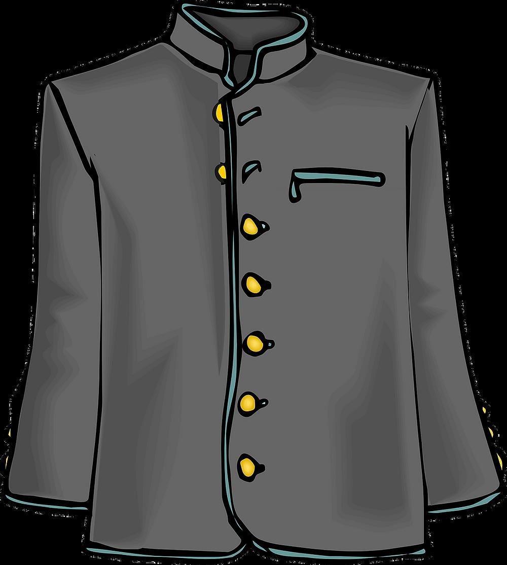 Manteau gris à boutons dorés