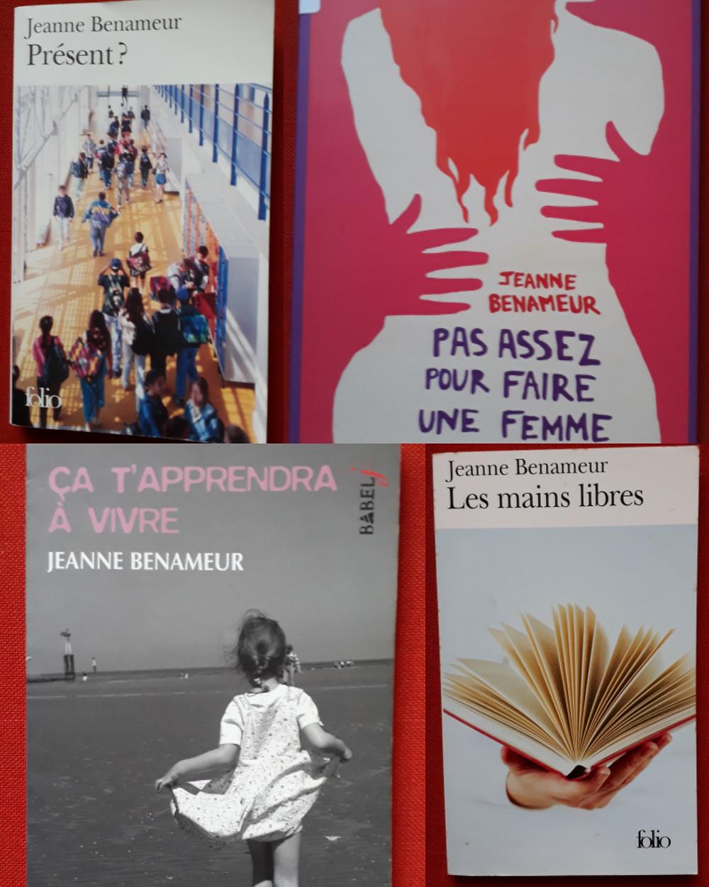 Quatre couvertures de romans de Jeanne Benameur