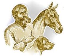 Illustration du conte: un homme, son cheval, son chien