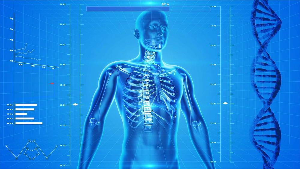 Corps sur fond bleu avec ruban ADN sur la droite