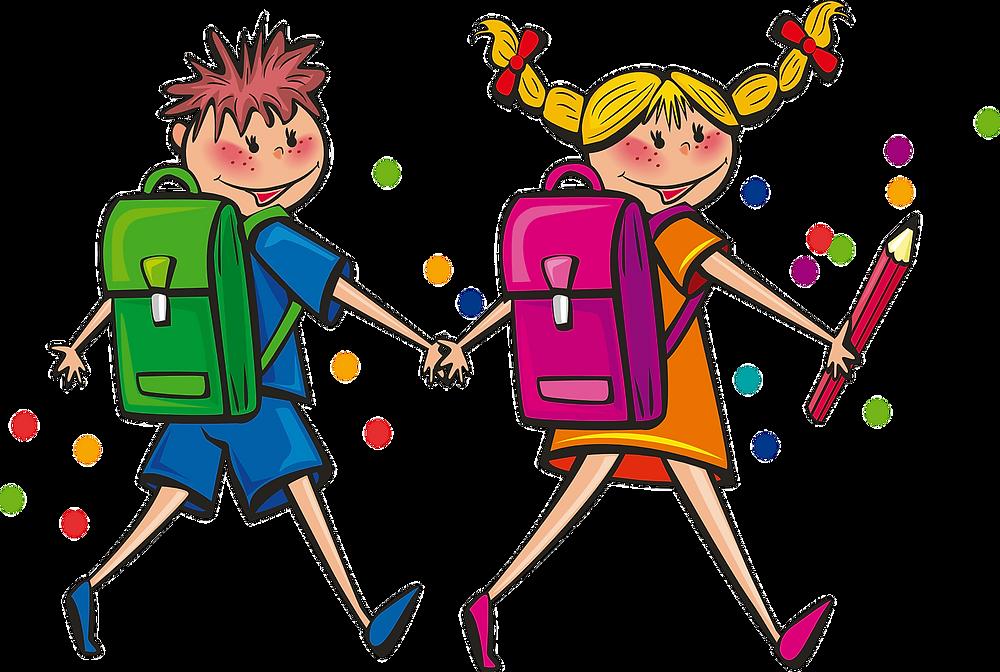 Dessin coloré de deux enfants, garçon et fille allant à l'école