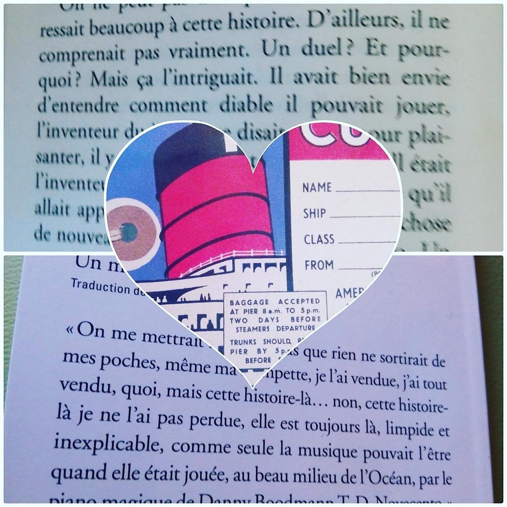 Collage autour du livre Novecento de Alessandro Baricco