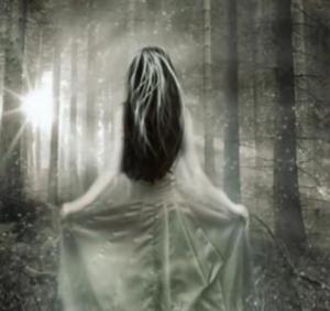 Femme de dos, en noir et blanc face à une boule de lumière filtrant à travers les arbres