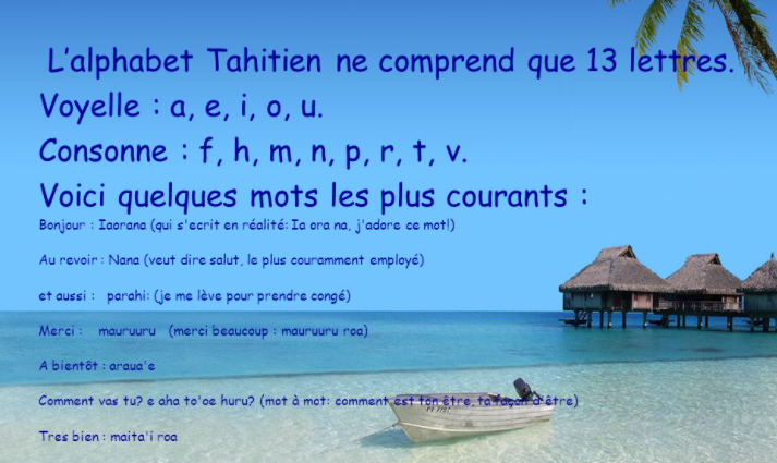 Alphabet tahitien et mots courants