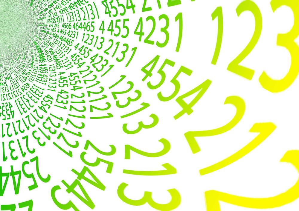 Spirale de nombres de couleurs vert et jaune