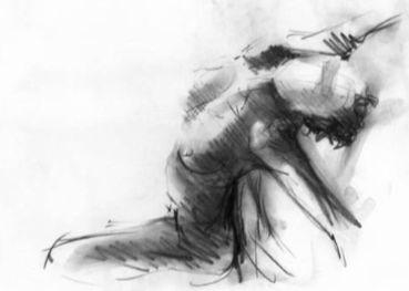 Dessin au fusain représentant un corps de femme nue renversé