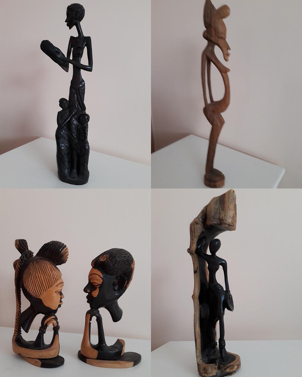 Quatre photos de sculptures de Demba M'Ballo