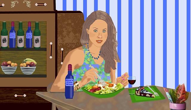 Jeune femme dessinée devant une assiette de crudités, revisiter son alimentation
