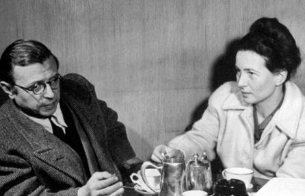 Simone de Beauvoir et Jean- Paul Sartre attablés au café de Flore