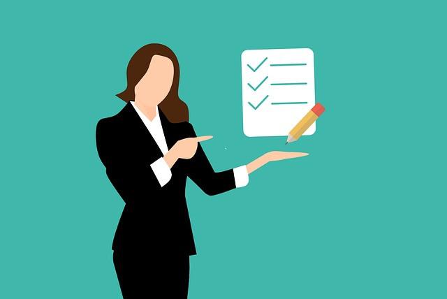 Silhouette stylisée de femme pointant du doigt une liste