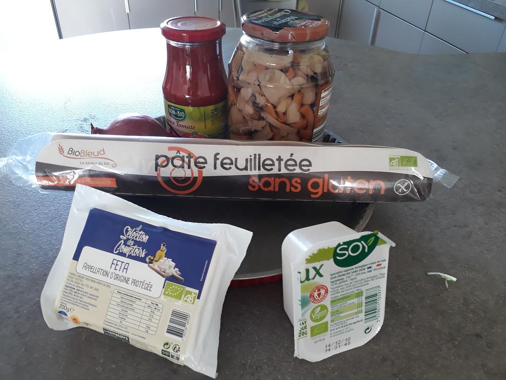 Ingrédients nécessaires à la préparation de la tarte aux champignons
