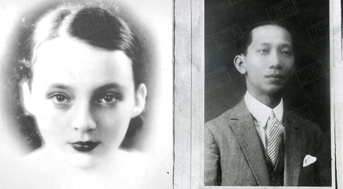 Deux portraits en noir et blanc, Marguerite Duras jeune et l'amant