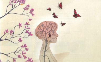Une femme de profil, des papillons volent au-dessus de sa tête