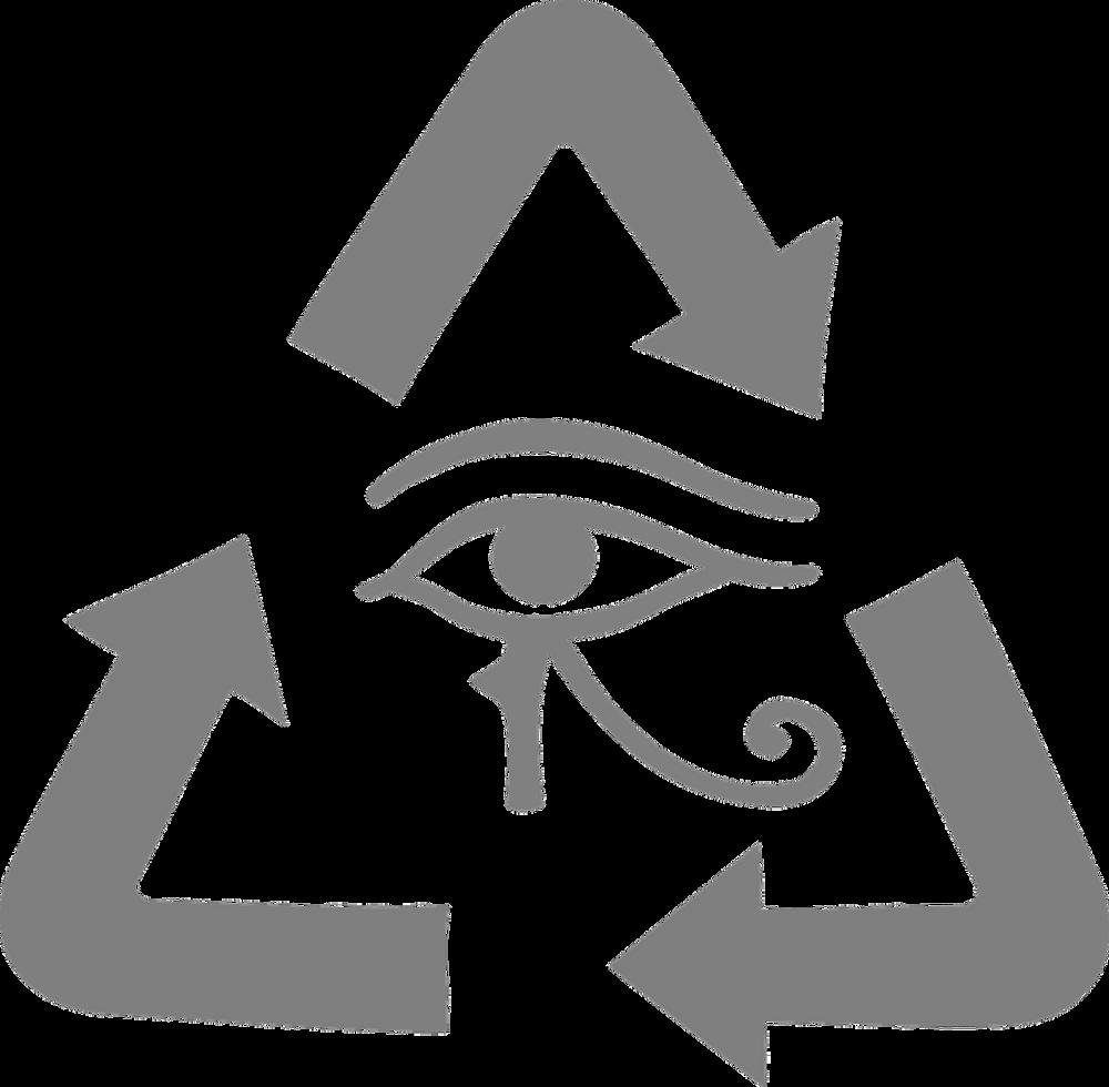 image vectorielle œil d'horus dans triangle aux côtés fléchés