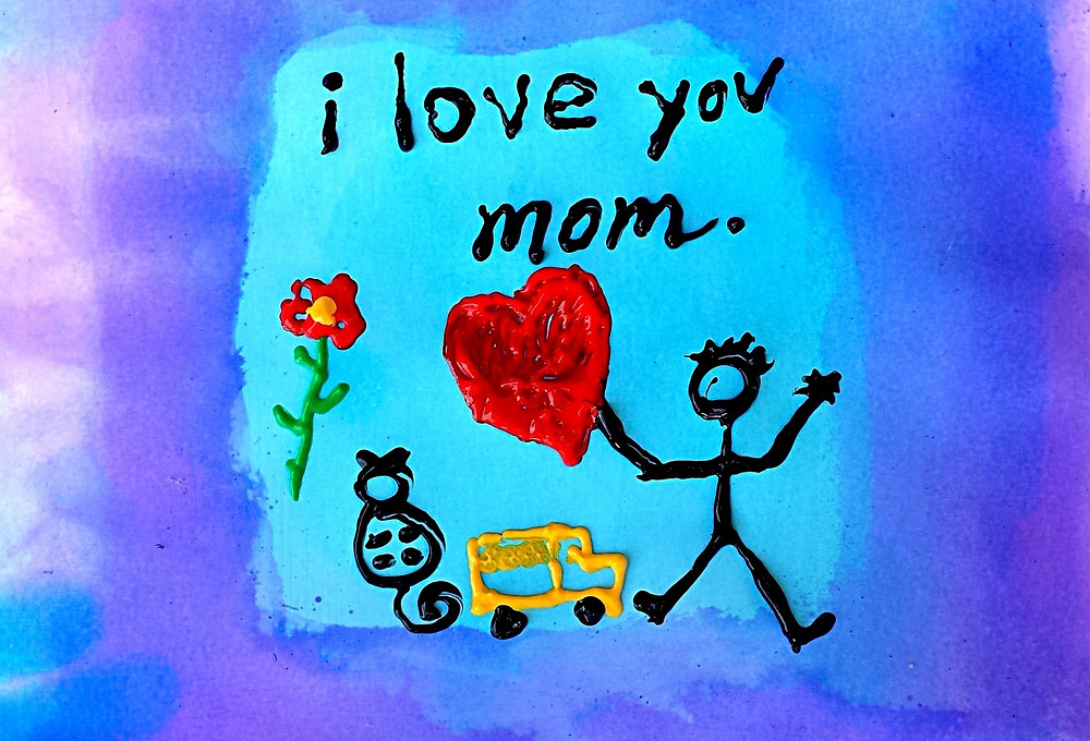 Dessin d'enfant en relief: I love you mom