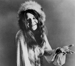 Portrait de Janis Joplin en noir et blanc