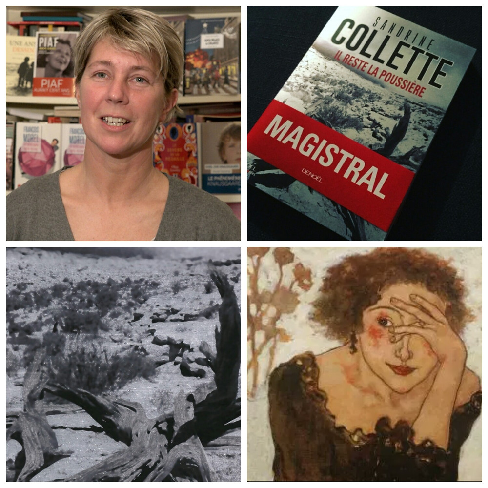 Collage autour de l'auteure Sandrine Collette