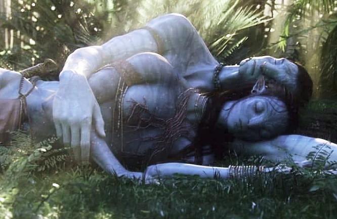 """Tirée du film """" Avatar """" un couple est allongé dans l'herbe tendrement enlacé"""