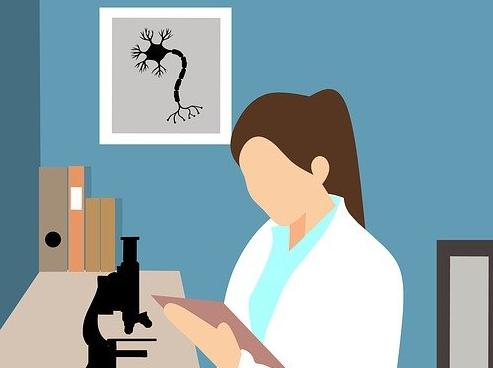 image dessinée d'une jeune femme médecin devant un microscope