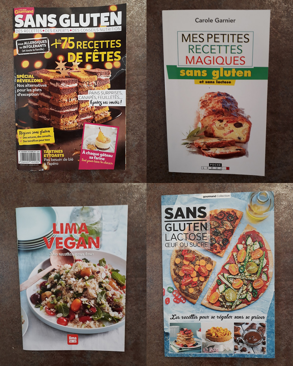 quatre couvertures de revues et livres de recettes sans gluten et sans lactose