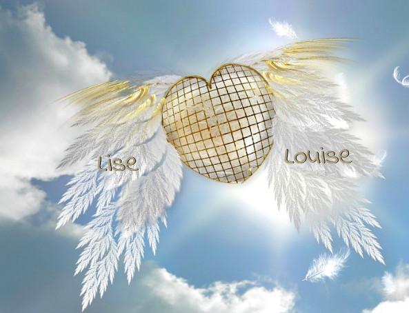 Deux ailes blanches accrochées à un cœur s'envolent dans le ciel