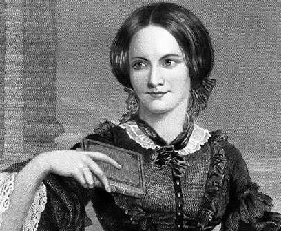 Gravure représentant Emily Brontë tenant un livre à la main droite